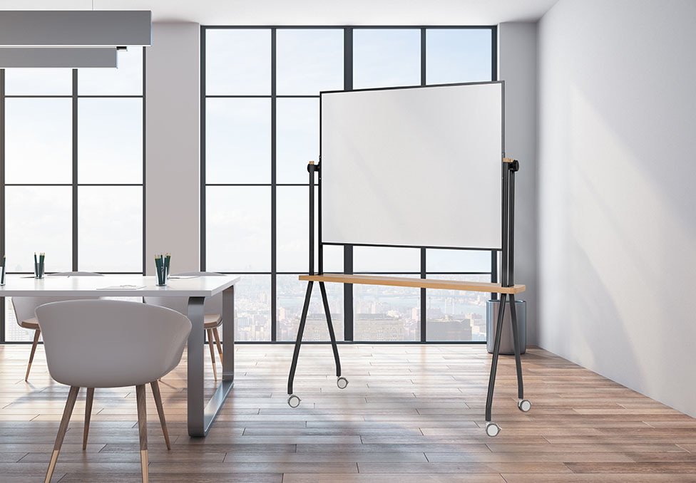 Contemporary conference room interior with city view, wooden floor and daylight. 3D Rendering